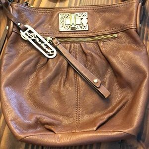 Medium brown leather crosssbody